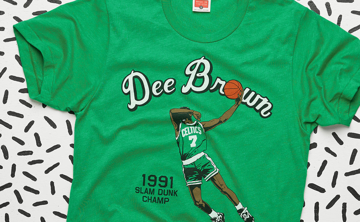 Pop Up Shop Exclusives like the 1991 Dee Brown Slam Dunk Champ Tee
